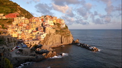 Picturesque view of Manarola, Laguria, Italy on a sunset Stock Footage