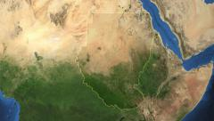 Sudan before 2011. 3d earth in space - zoom in on Sudan outlined on green 4k Arkistovideo