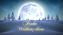 Frohe weihnachten message with flying santa Stock Footage