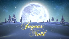 Joyeux noel message with flying santa Stock Footage
