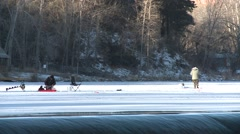 Recreation Black Hills Winter Ice Fishing - stock footage