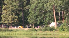 Recreation Black Hills Summer Camping Campground Lake Zoom Out Stock Footage