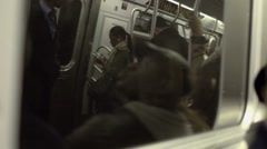 Subway Passengers Tired Asleep Sleeping NYC New York City Riding Reflection Arkistovideo