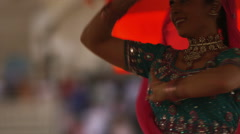 Woman performing an Indian dance for Holi Stock Footage