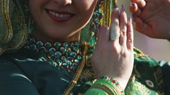 Hindu dancer looking at the camera Stock Footage