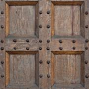 detail of old solid wood door - stock photo