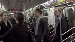 Subway Train Interior Inside Passengers Riding Commuting NYC Commuters People Stock Footage