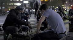 Chess Game Match Chessboard Union Square NYC Playing Night Slow Motion - stock footage