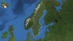 Sweden. 3d earth in space - zoom in on Sweden outlined on green 4k Arkistovideo