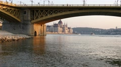 Wide view of Budapest Parliament through Margaret Bridge 4K Stock Footage