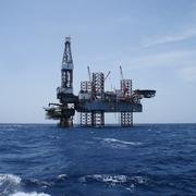 Offshore jack up oil drilling rig and the production platform Kuvituskuvat