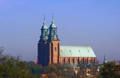 the towers of the basilica archdiocese - stock photo