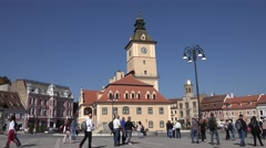 ULTRA HD 4K Beautiful Sfatului Square tourist people relax day Old City Hall  Stock Footage