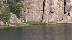 Recreation Custer State Park Summer Fishing Zoom Out - stock footage