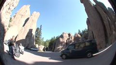 Recreation Custer State Park Summer Granite Motorcycle - stock footage