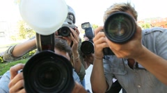 Group of paparazzi people taking picture Stock Footage