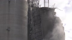 Wrecking ball, demolition of grain silo Stock Footage