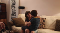 Mother and son talking, love, affection, enjoy, family, spending time together - stock footage