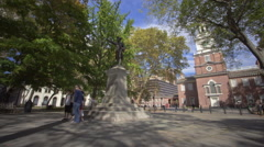 Stock Video Footage of Independence Hall Visitor Traffic