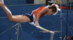 MS Girl (12-13) performing gymnastics / Lindon, Utah, USA. Stock Footage
