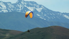 WS PAN POV Person paragliding over mountain / Lehi, Utah, USA. Stock Footage