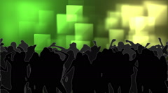 Dancing crowd with glowing squares of green light moving Stock Footage