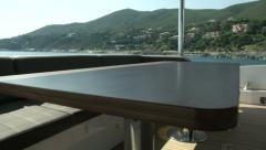Living area on upper deck of luxury yacht  - stock footage
