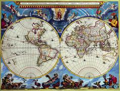 antique maps of the world.double hemisphere map.joan blaeu.c 1662 - stock photo