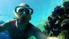 2of16 Man swimming, snorkeling near coral reef, Red Sea, Egypt Stock Footage