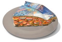 slice of franc money pie - stock illustration