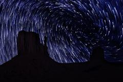 star trails in monument valley navajo nation arizona - stock photo