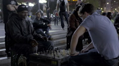 Chess Game Match Chessboard Union Square NYC Playing Night Slow Motion Stock Footage
