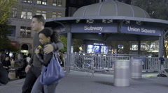 Union Square Subway Station Entrance Exit Blue Dome People Night NYC Slow Motion Stock Footage