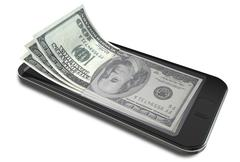 smartphone payments with dollars - stock illustration