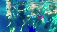 7of16 People, tourists swimming in ocean, Marsa Alam, Red Sea Stock Footage