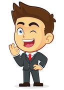 Businessman Gesturing Ok and Winking - stock illustration