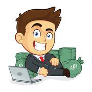 Rich Businessman Lie Around Cash - stock illustration