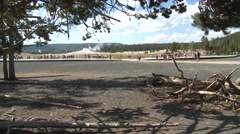 Recreation Yellowstone National Park Summer Old Faithful Geyser Stock Footage