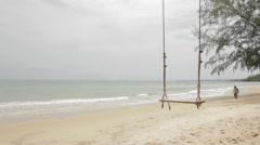 Rope Swing Hangs Local Khmer Walks Past Stock Footage