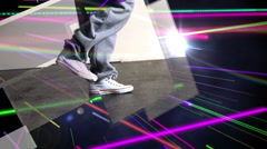 Bright colourful laser beams shining Stock Footage