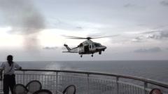 Italy Coast Guard helicopter cruise ship ER medical evacuation 4K 018 Stock Footage
