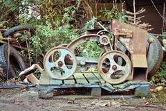 Antique grain barrow Stock Photos