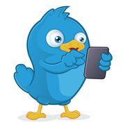 Blue Bird Holding Tablet PC - stock illustration