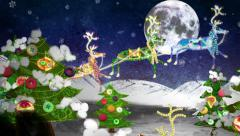 Santa with his sleigh and 8 reindeer: Christmas mixed-media animation. Arkistovideo