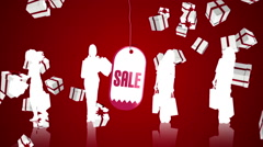 Sale advertisement with raining christmas gifts Stock Footage