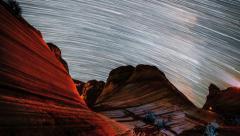 4K Star Trails Over The Wave Arizona Sandstone Night - stock footage