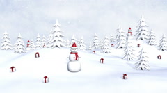 Winter Christmas forest with gifts and snowmen, falling snowflakes Stock Footage