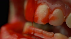 4K Horror Zombie Blod Teeth Closeup - stock footage