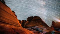 Wave Arizona Rock Formation With Night Star Trails - stock footage