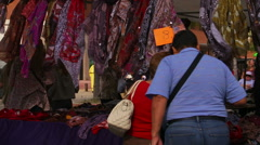 people shopping at Estepona street market - stock footage